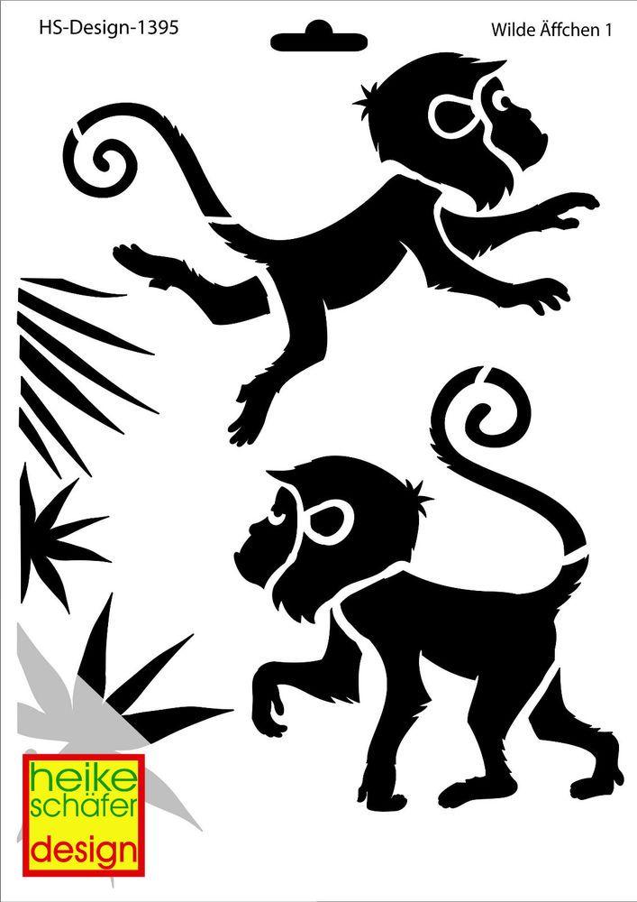 Schablone A4 Art Nr 1395 Wilde Affchen 1 Heike Schafer Schablonen Affen Schaefer