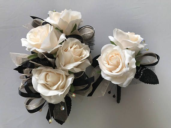 Champagne Black Blush Rose Corsage And Boutonnière Set