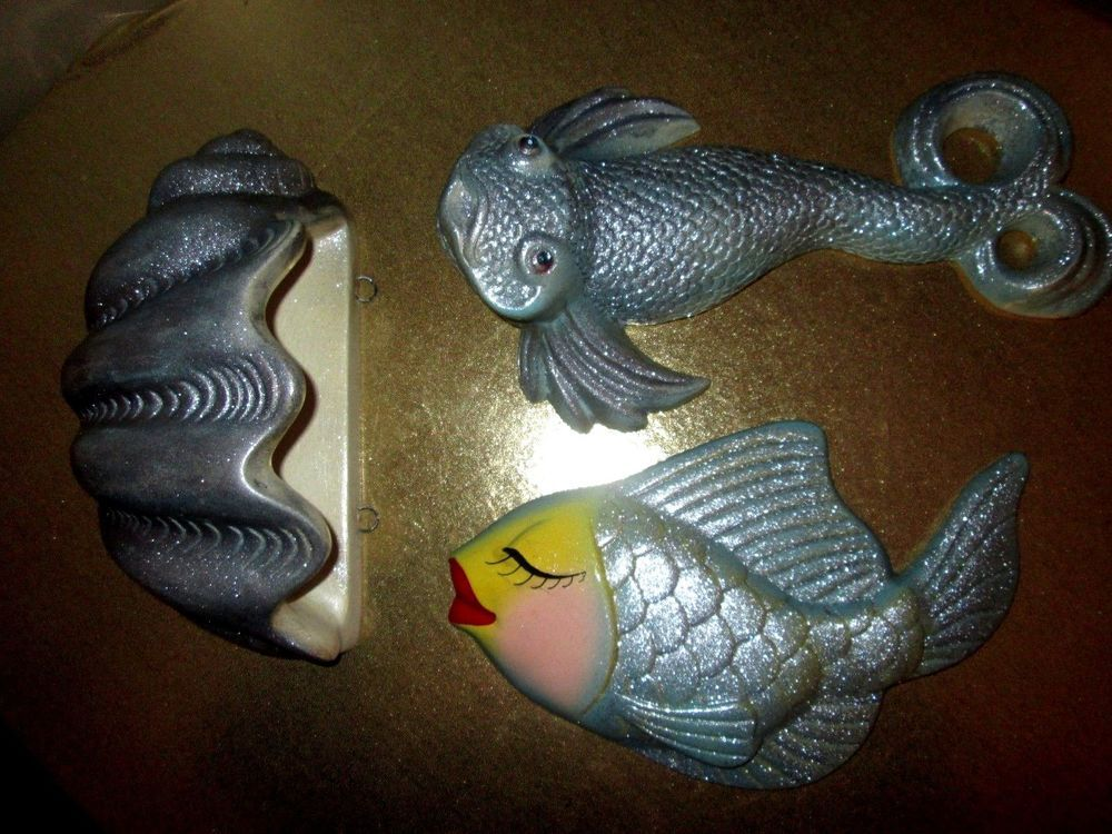 Vintage Fantail Fish Chalkware Red Lip Fish Shell Wall Plaques