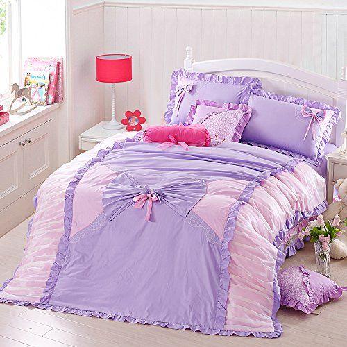 Fadfay Home Textil Filigran Koreanischer Style Lila Bettwäsche Set