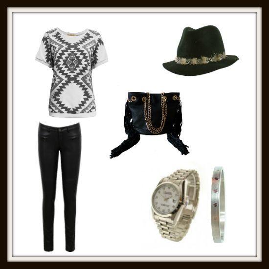 Aztec sweater and leather pants - Trui met aztec print en korte mouwen en zwarte leren broek