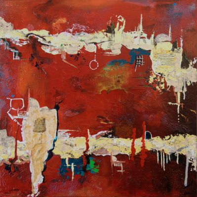"""""""Red Passage"""" (abstract) is on 30"""" x 30"""" canvas using acrylic paints and inks.  Edges are painted black and entire painting is protected with varnish - Available!"""