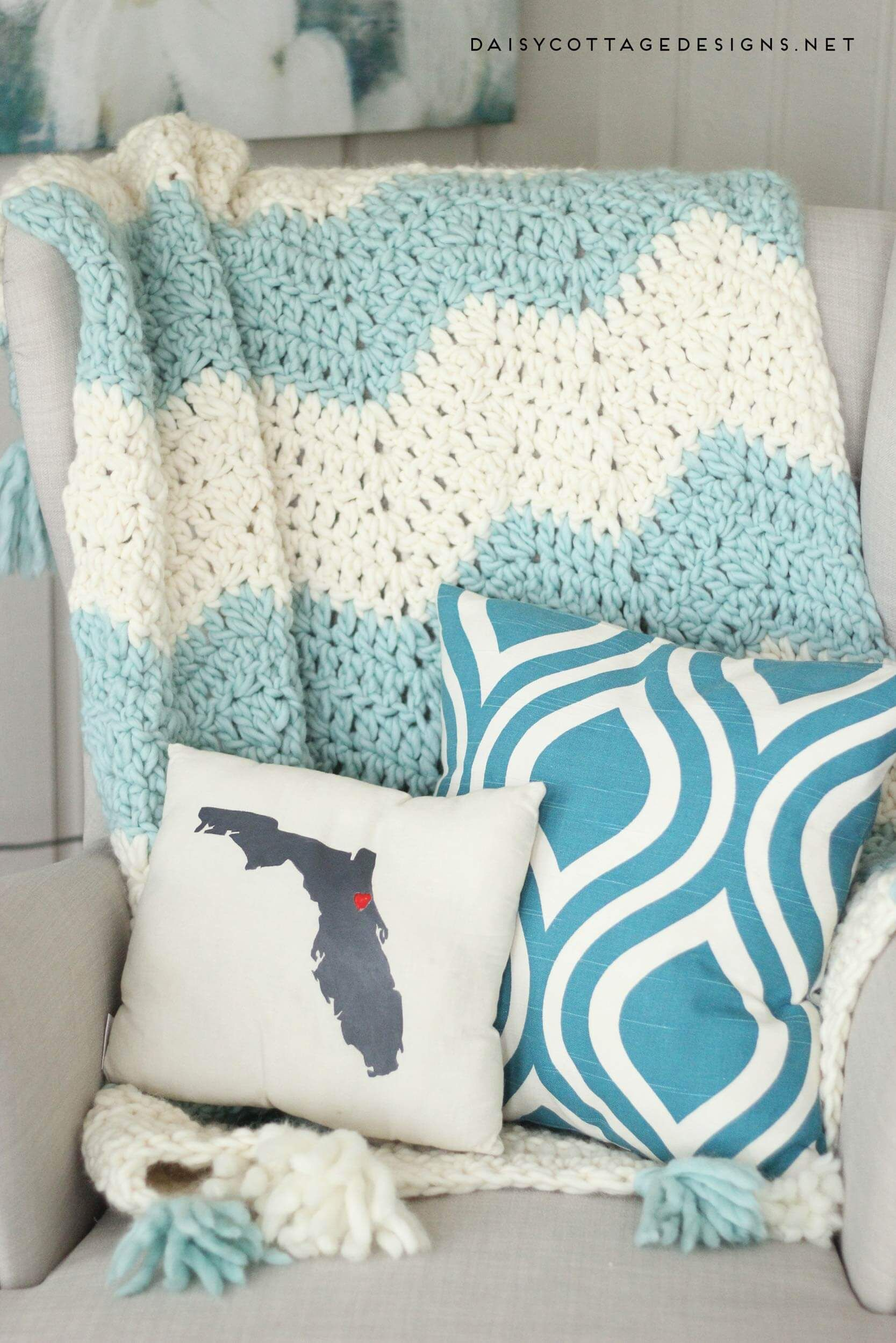 Chunky Chevron Crochet Blanket With Tassels Beautiful And Easy To