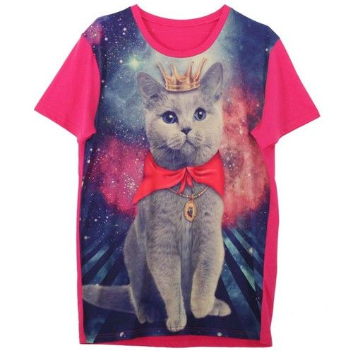 Galaxy T-Shirt with CAT Graphic Print Funky Rock Punk Round Crew Neck Cute PINK | eBay