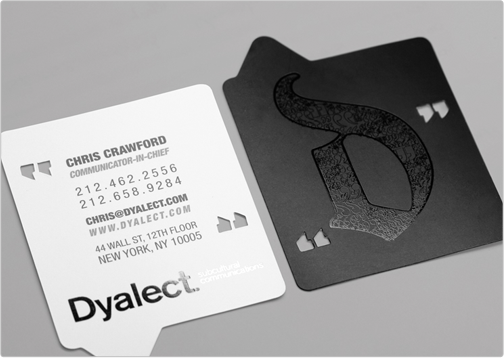 Business Card By Toi Design For Dyalect Custom Cut Punch Out With Matte Gloss