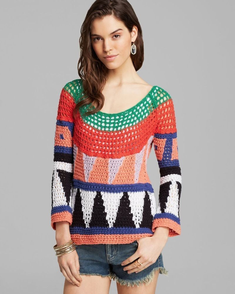 NWT FREE PEOPLE MODERN ART GEOMETRIC OPEN KNIT CROCHET PULLOVER SWEATER TOP  M  FreePeople  Pullover f857be1dd