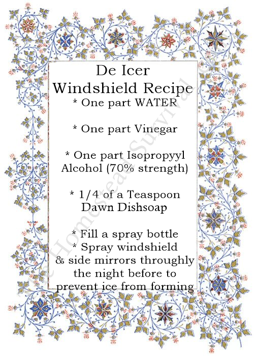 De Icer Windshield Recipe Winter Vehicle Maintenance The Homestead Survival Homesteading Windshield Diy Cleaning Products Winter Hacks