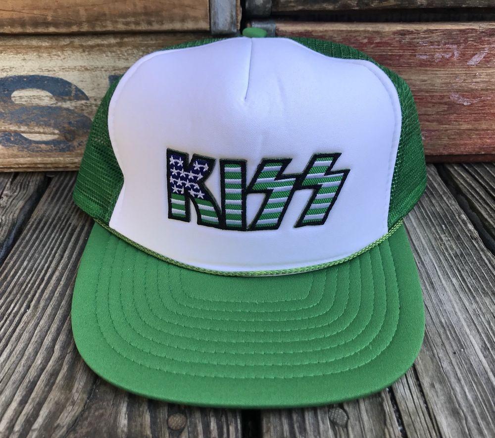 KISS Concert Vintage 80s Green Mesh Snapback Trucker Hat  Nissin  TruckerHat efe92e78874c