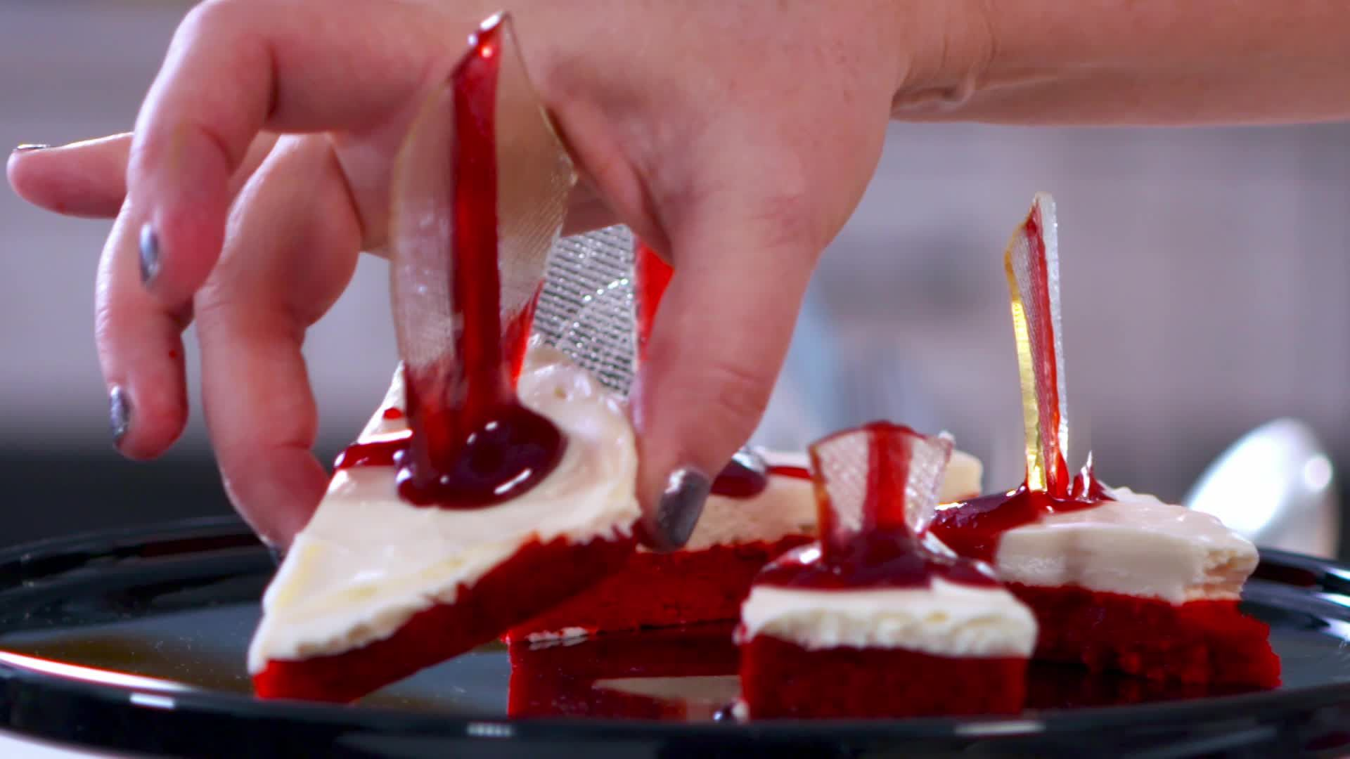 Bloody Cheesecake Bars With Broken Glass Caramel