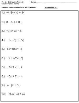 Algebra Worksheets for Simplifying the Equation 6th
