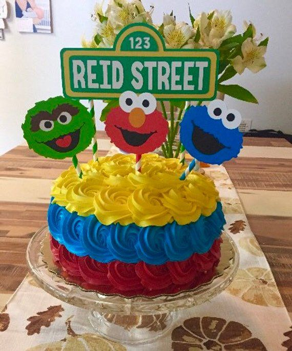 Sesame Street Inspired Cake Toppers Banner Elmo Smash