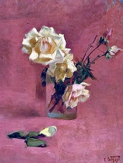 Yellow Roses In A Vase ~ Edward Henry Potthast ~ (American 1857-1927)