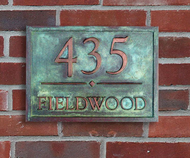 Unique Address Plaque Copper Coated With Verde Patina