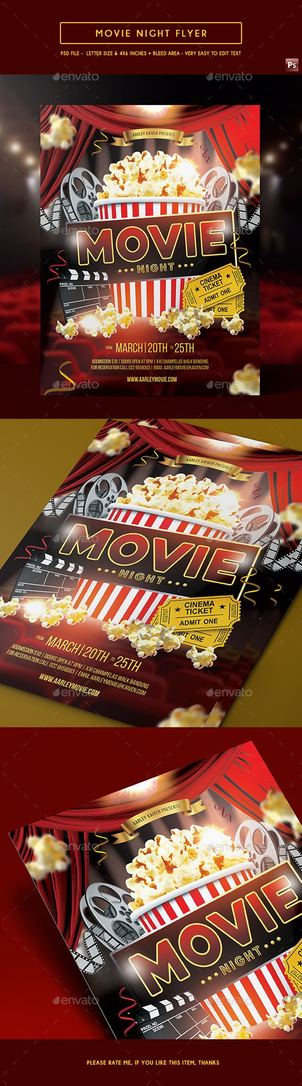 Movie Night Flyer  Flyer Template Template And Psd Templates