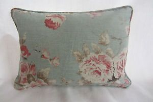 Emma Linen Duckegg Floral with Grey Ticking Back & Piped Cushion Cover | eBay