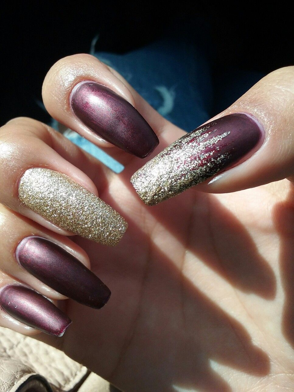 Fall Coffin Burgundy Gold Nails