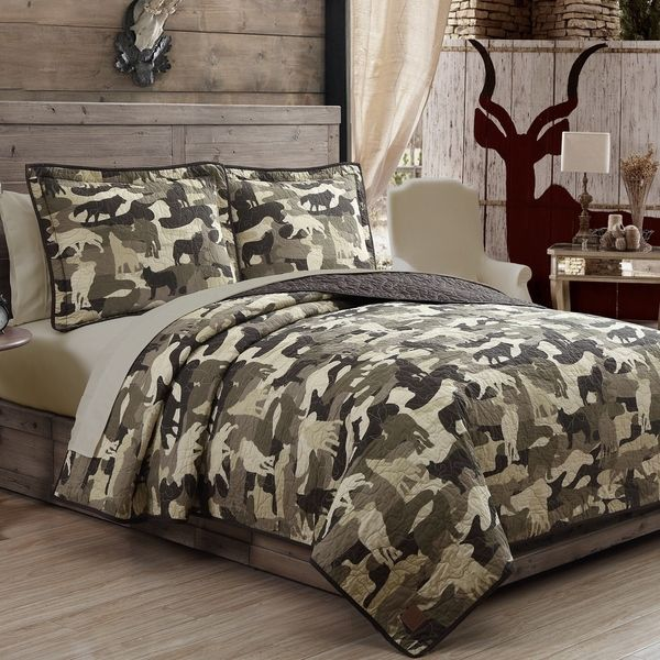 Wolf Camouflage Quilt 3 Piece Set By Field Stream Overstock Com Shopping The Best Deals On Comforter S Bedding Sets Camoflauge Bedroom Camoflauge Bedding