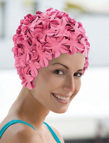 8315ab62598 Ladies-Fashy-Swimming-Cap-Pink-Petal-Flower-Retro-Vintage-Bathing-Cap-3191