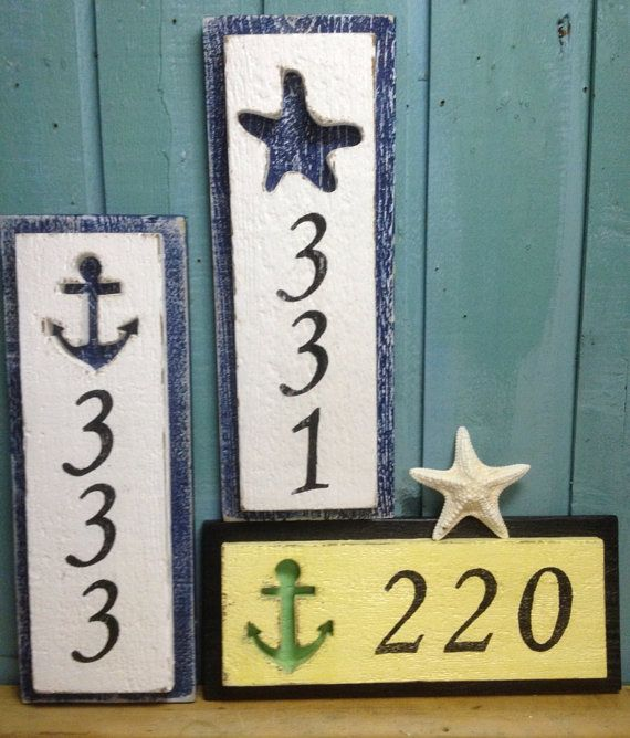 House Number Sign Beach Decor 3 Numbers On Etsy 52 00