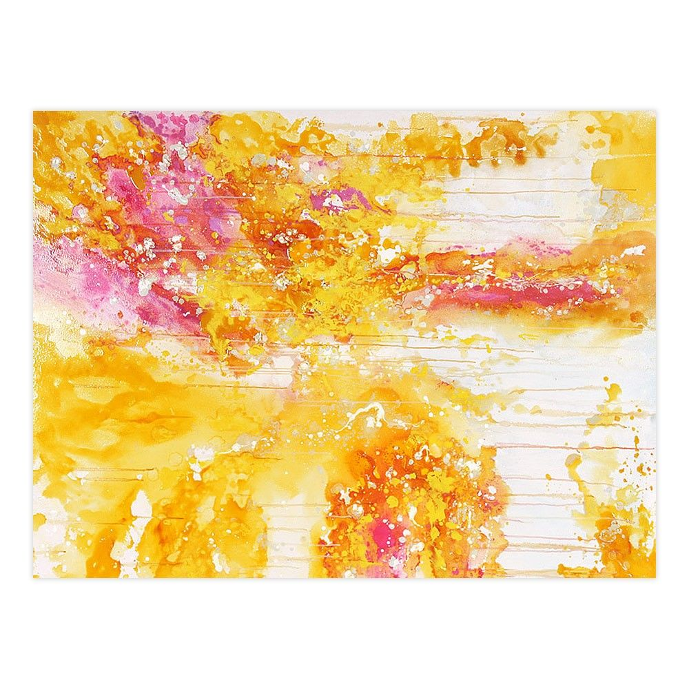 Yellow Fireball Unstretched Canvas - Canvas & Canvas - Canvas ...