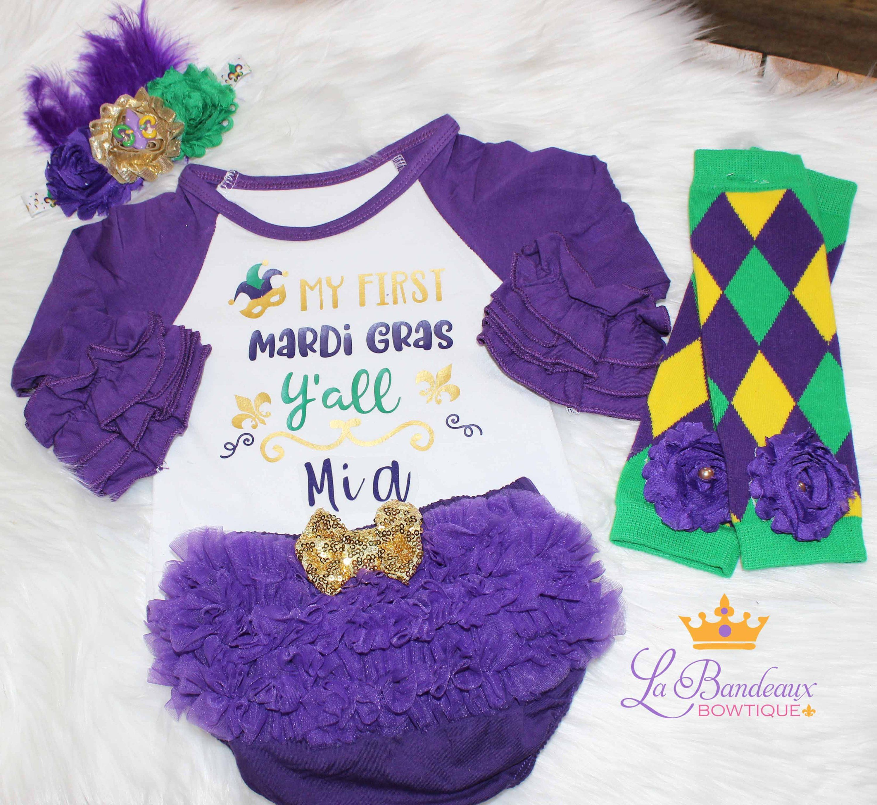 aee6bb225a6 Personalized First Mardi Gras Ya ll Outfit Baby Girl Outfit Ruffle Raglan Mardi  Gras Bodysuit Mardi Gras Leg Warmers Mardi Gras Headband by ...