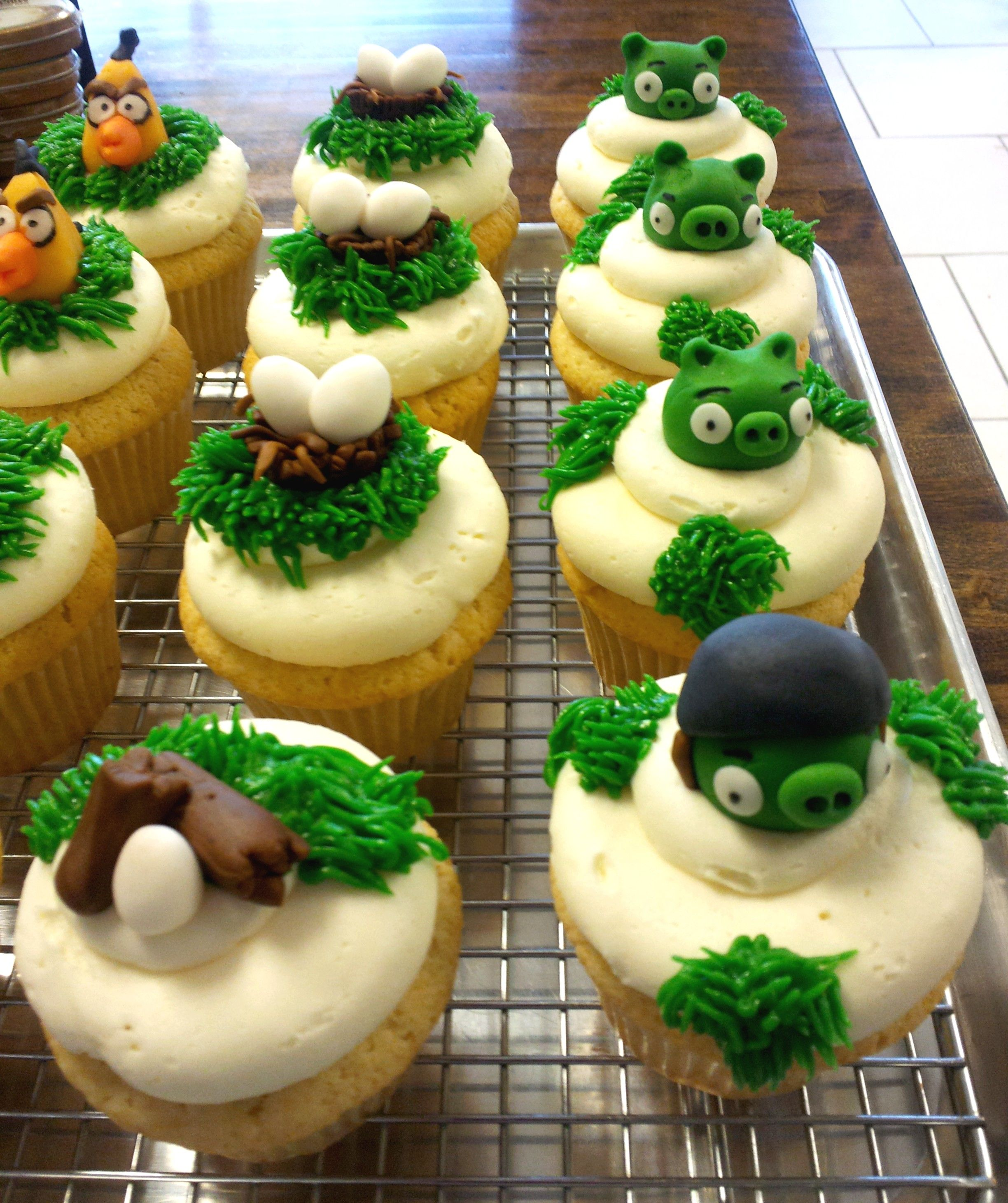 Angry Birds cupcakes created by 350 Classic Bakeshop in Mamaroneck, NY