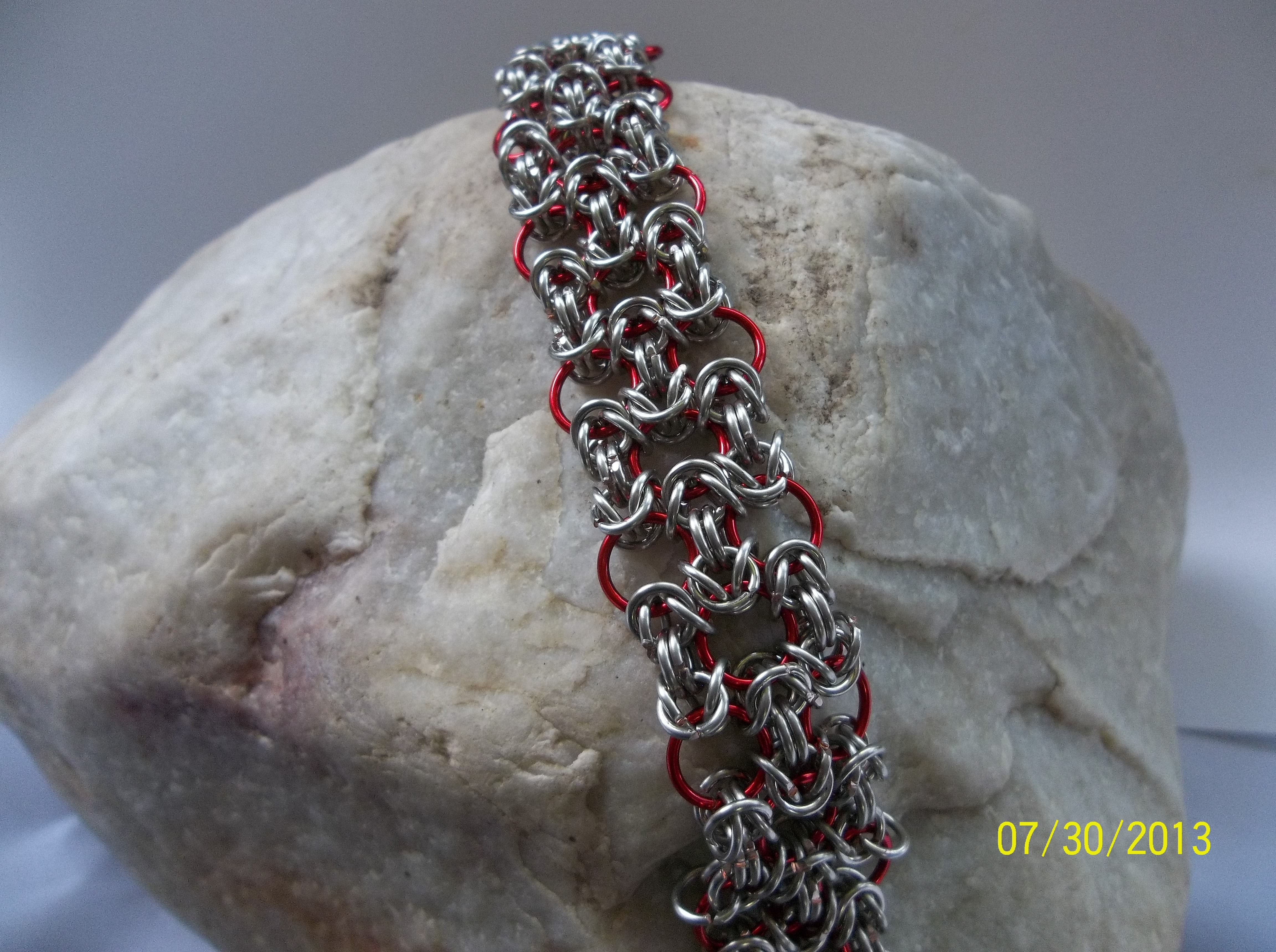 "Silver and red ""Byzantine Lace"" - $45 Come visit me at Shejewelry Culbertson on Facebook to see my other item!"
