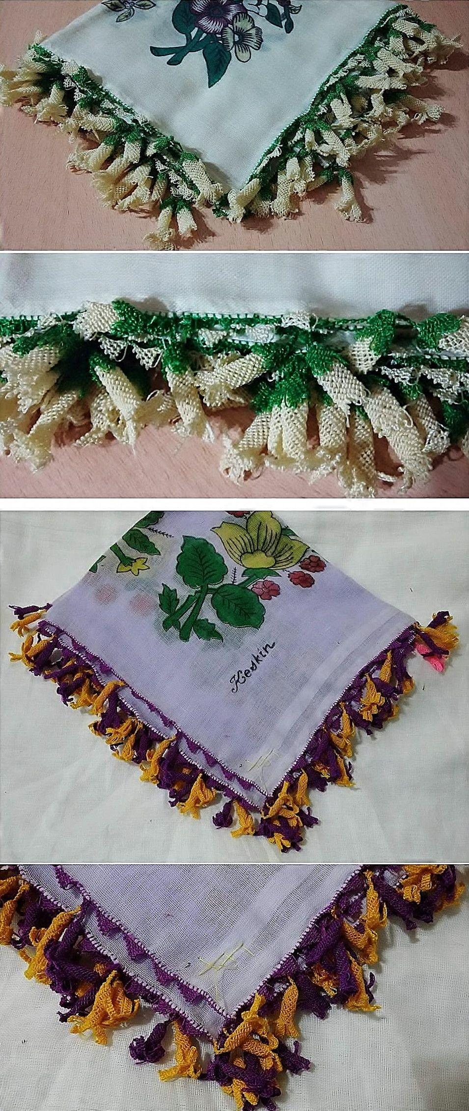 Two 'oyalı yazma' - (printed cotton) headscarves edged with Turkish lace. From Kozak Yaylası, near Bergama. From newcomers, ca. 1950-1975. (Source: Tekin Uludoğan, Balıkesir).