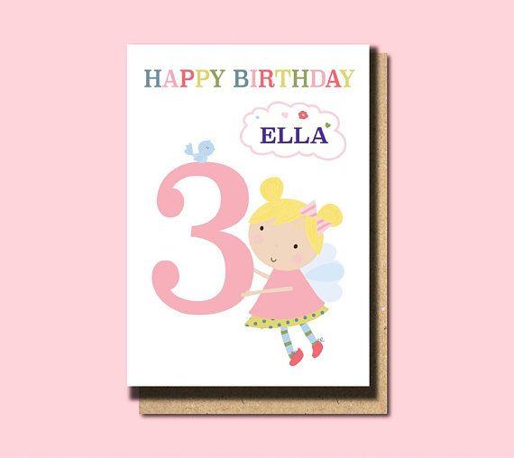3rd Birthday Card Girl 3rd Birthday Card Daughter 3rd Birthday