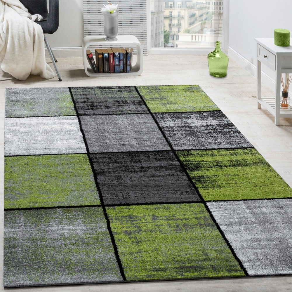 Designer Teppich Modern Kurzflor Karos Speziell Meliert Grau Schwarz Grün  Wohn Und Schlafbereich Designer Teppiche