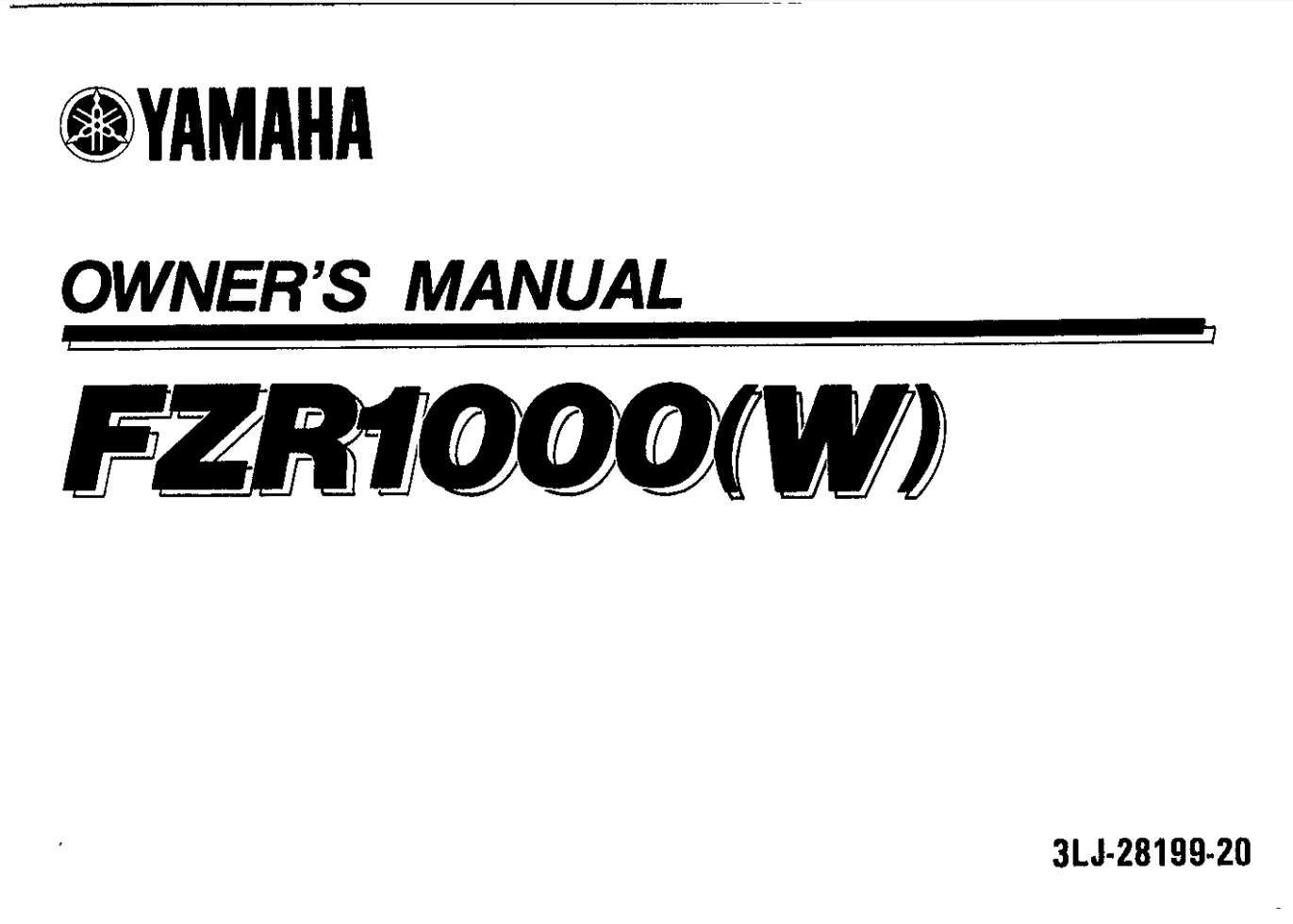 Yamaha Fzs1000 W 1989 Owner S Manual Manual Owners Manuals Yamaha
