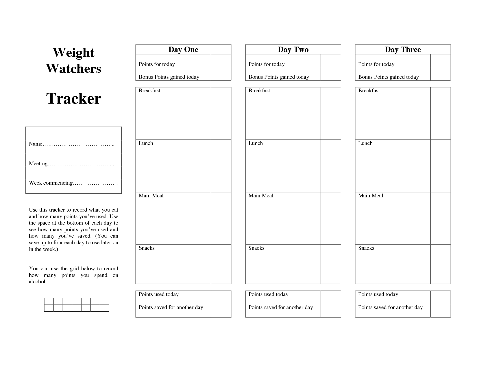 weight watchers points guide tracker form weight watchers pinterest. Black Bedroom Furniture Sets. Home Design Ideas