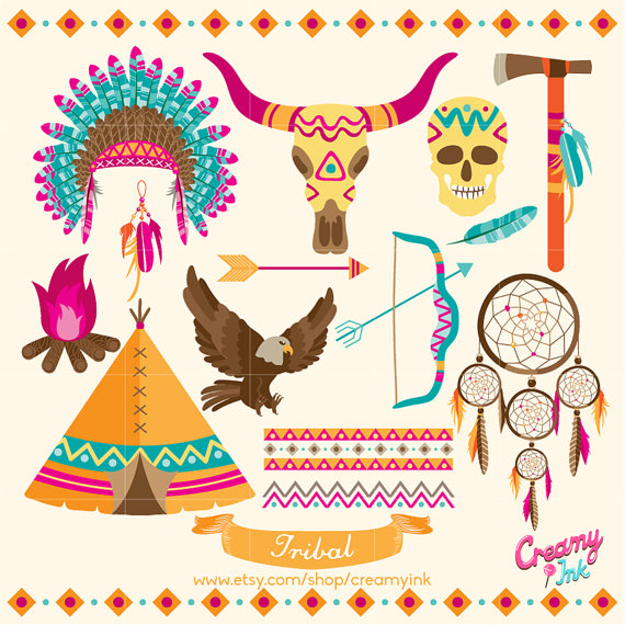 Tribal Digital Vector Clip art / Ethnic Clipart Design Illustration / Dreamcatcher, Indian, Teepee, Arrow, Tipi / Instant Download