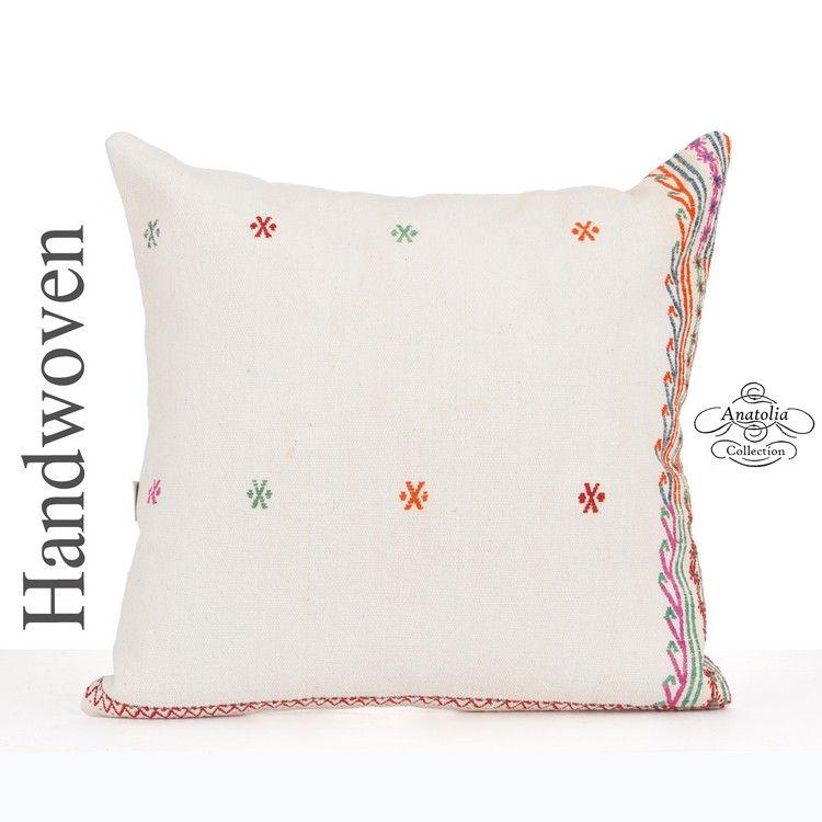Moderne Kissenbezüge white shabby chic pillow cover 24x24 large kilim pillowcase