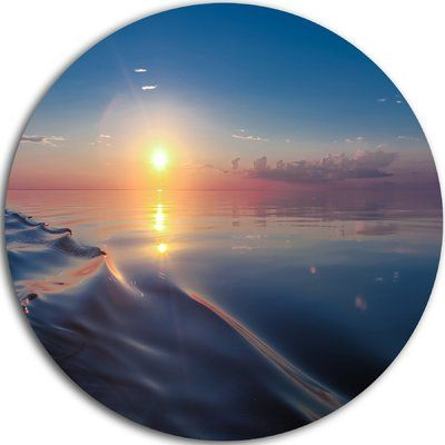 """DesignArt 'Smooth Sea Surface under Sunset' Photographic Print on Metal Size: 11"""" H x 11"""" W x 1"""" D"""