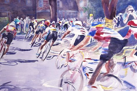 The Bicycle Race Watercolor Painting Bike Art Bicycle Art