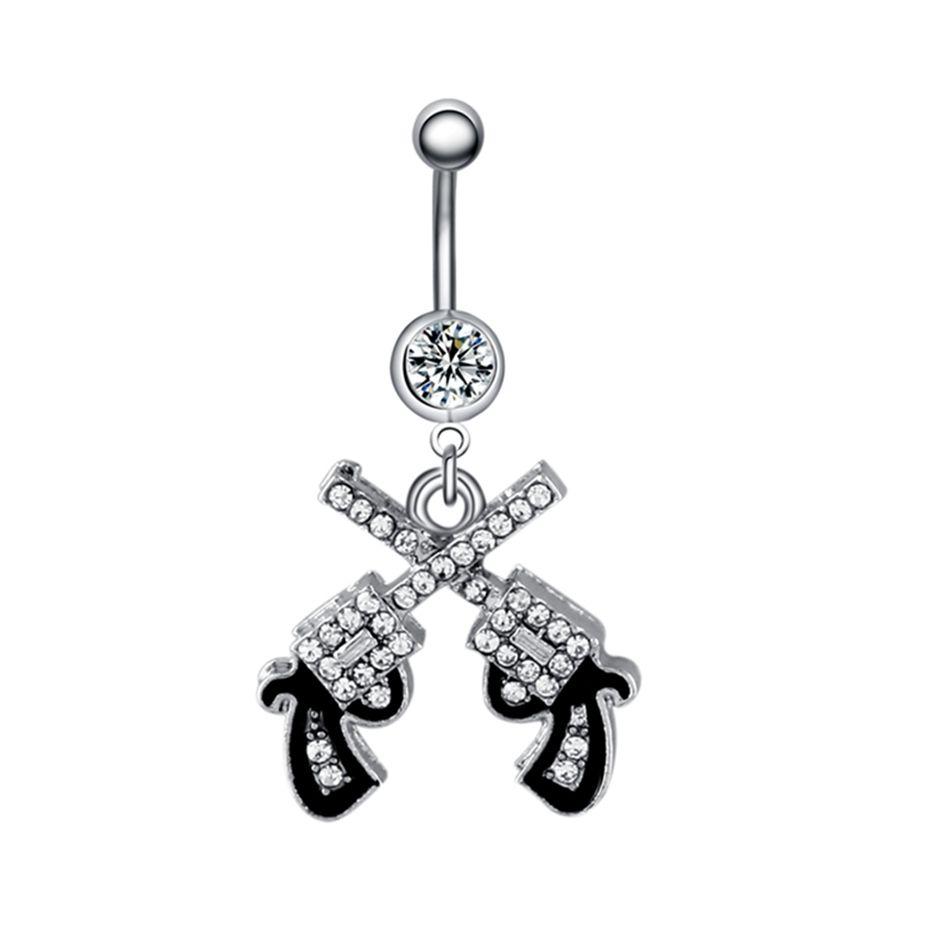 Belly button piercing earrings  Swan Jo Pc G Double Gun Crystal Dangle Belly Button Rings Ombligo