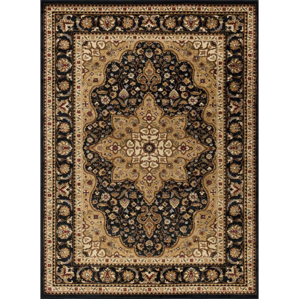 Tayse Rugs Elegance Black 5 Ft X 7 Ft Traditional Area Rug
