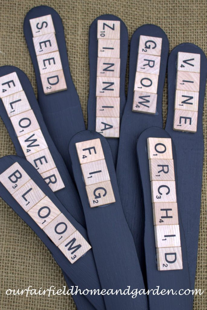 Scrabble Tile Plant Labels ~ an easy, useful repurpose for use in the garden or with houseplants!