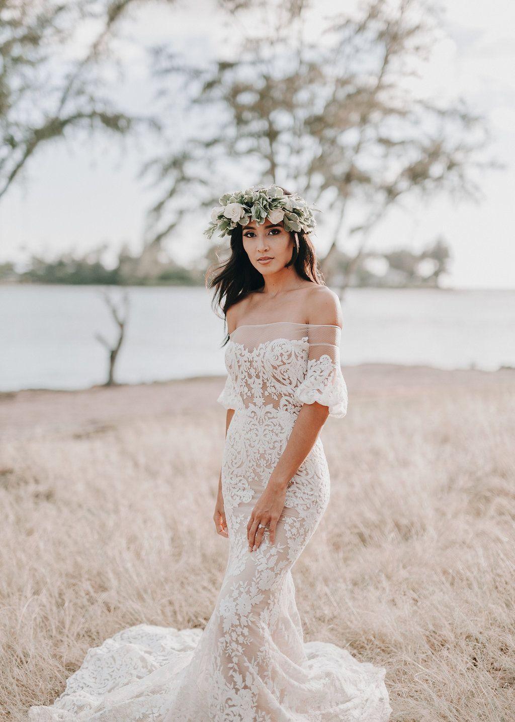 Beach Wedding Gown Liz Martinez Bridal Off The Shoulder