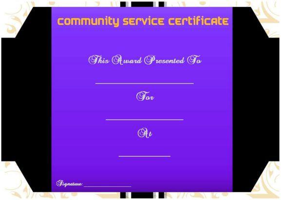Community Service Certificate Template Free Community Service