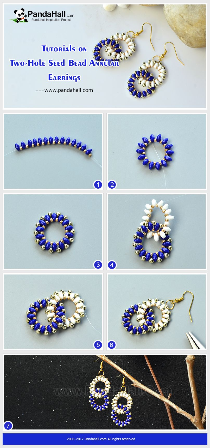 How To Make Two Hole Seed Bead Annular Earrings The Pair Of