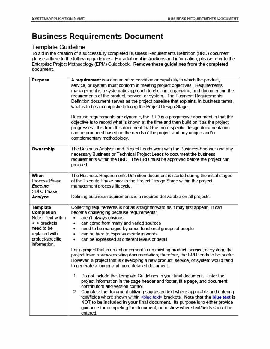 40 Simple Business Requirements Document Templates ᐅ Inside
