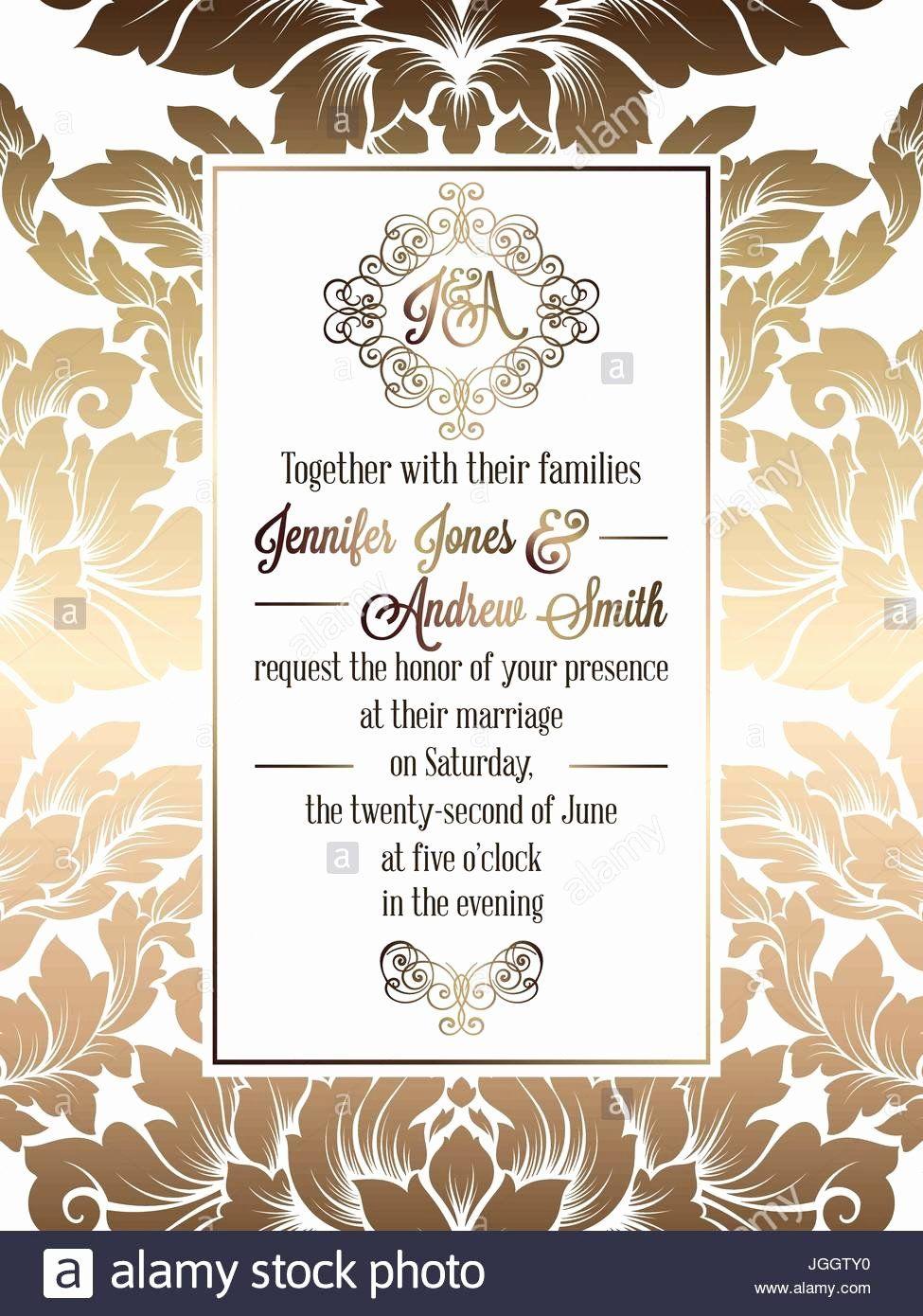 Formal Wedding Invitation Template Beautiful Vintage Baroque Style Wedd Wedding Invitation Card Template Formal Wedding Invitations Classic Wedding Invitations