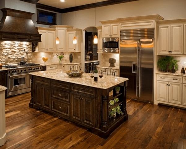 50 Inspiring Cream Colored Kitchen Cabinets Decor Ideas 47 Wood Tile Floor Kitchen Dark Wood Kitchen Cabinets Kitchen Cabinets Decor