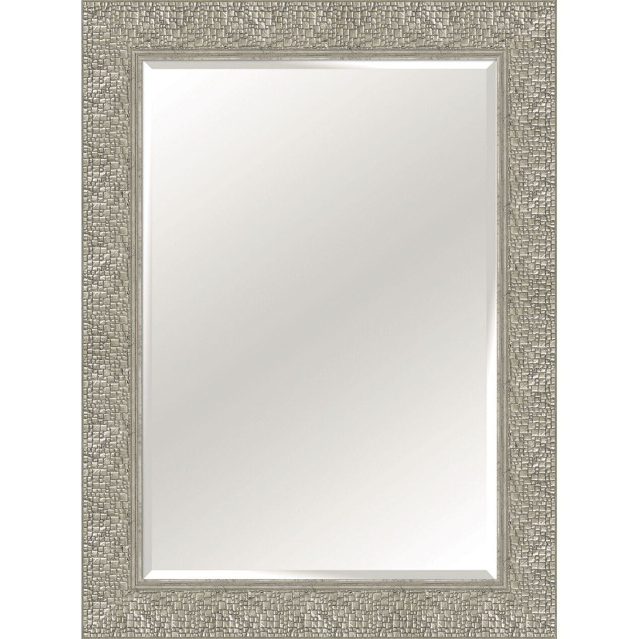 32x44 Rectangle Plastic Woven Squares Distressed Silver Wall Mirror Silver Wall Mirror Mirror Wall Mirror
