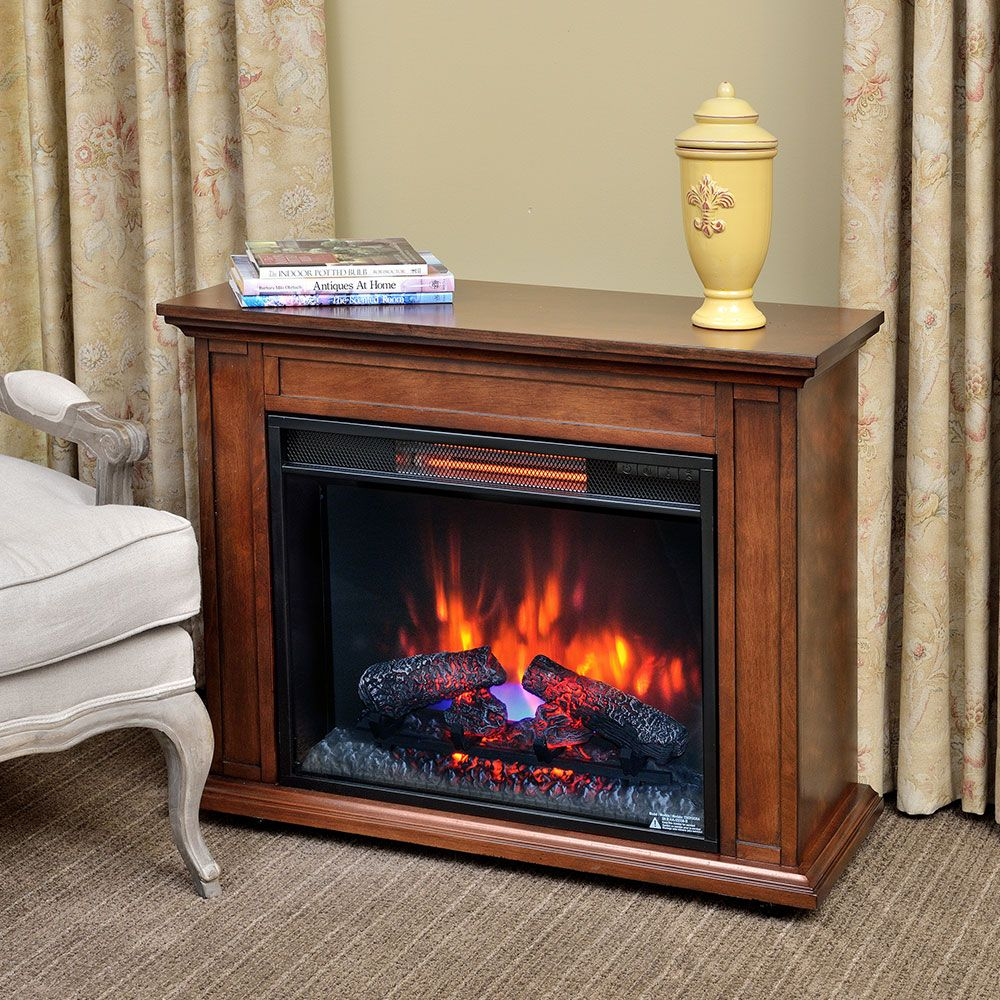Carlisle 1000 Sq Ft Infrared Fireplace Heater In Mahogany