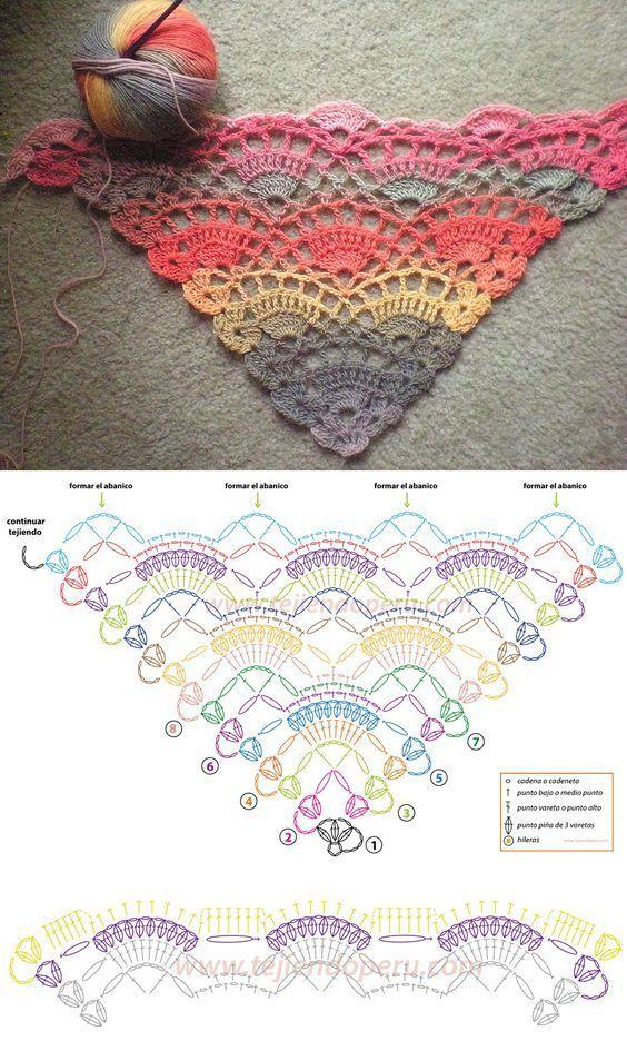 Pin de Maria Crochet en ponchos cuellos | Pinterest | Chal ...