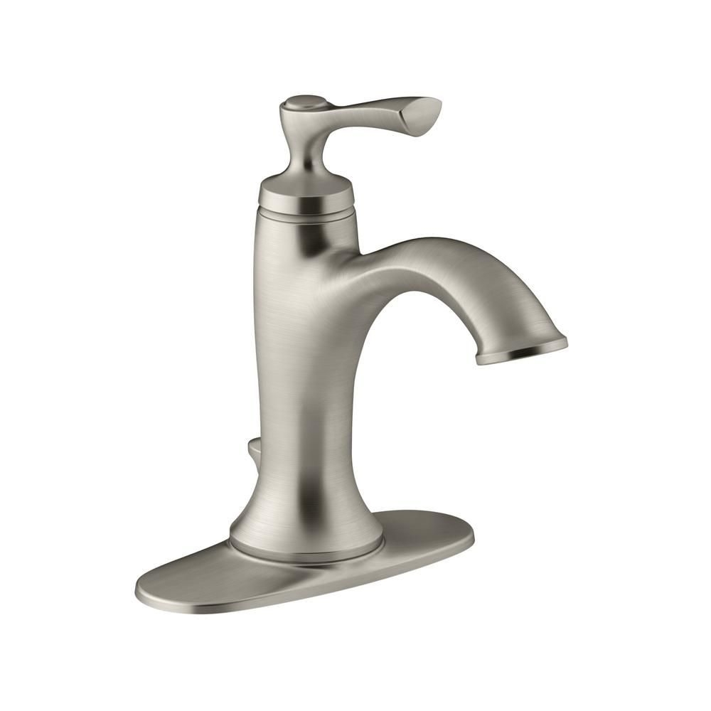 KOHLER Elliston Single Hole Single-Handle Bathroom Faucet in Brushed Nickel, Vibrant Brushed Nickel