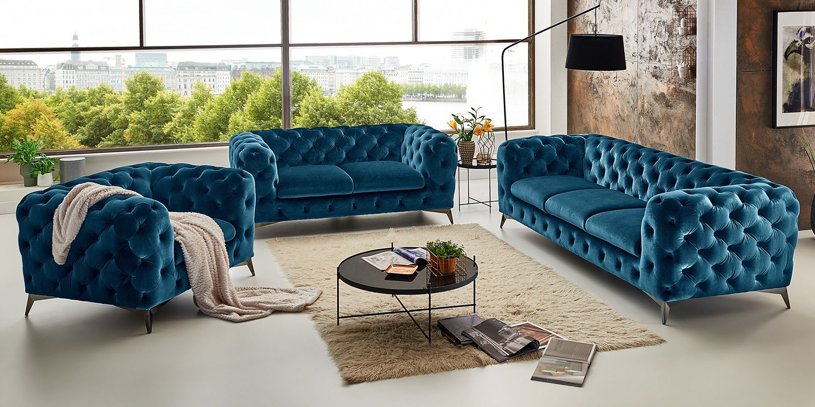 3 2 1 Sitzer Chesterfield Sofa Big Emma Samt Petrol Turkis